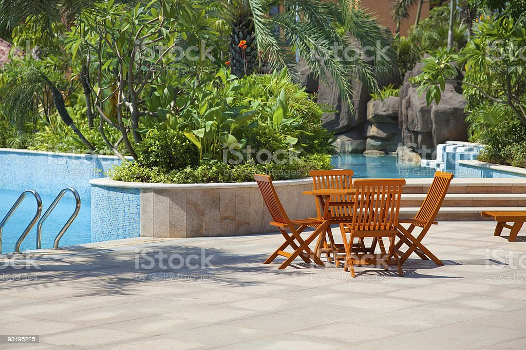 Outside view of the garden and pool stock photo