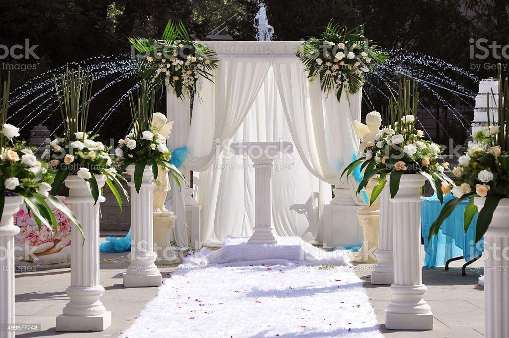 Outside wedding decoration stock photo