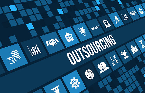 Outsourcing concept image with business icons and copyspace. Outsourcing concept image with business icons and copyspace.For more variation of this image please visit my portfolio outsourcing stock pictures, royalty-free photos & images