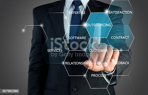 Mid section view of a businessman hand touching outsourcing word on visual screen that represents of business outsourcing.