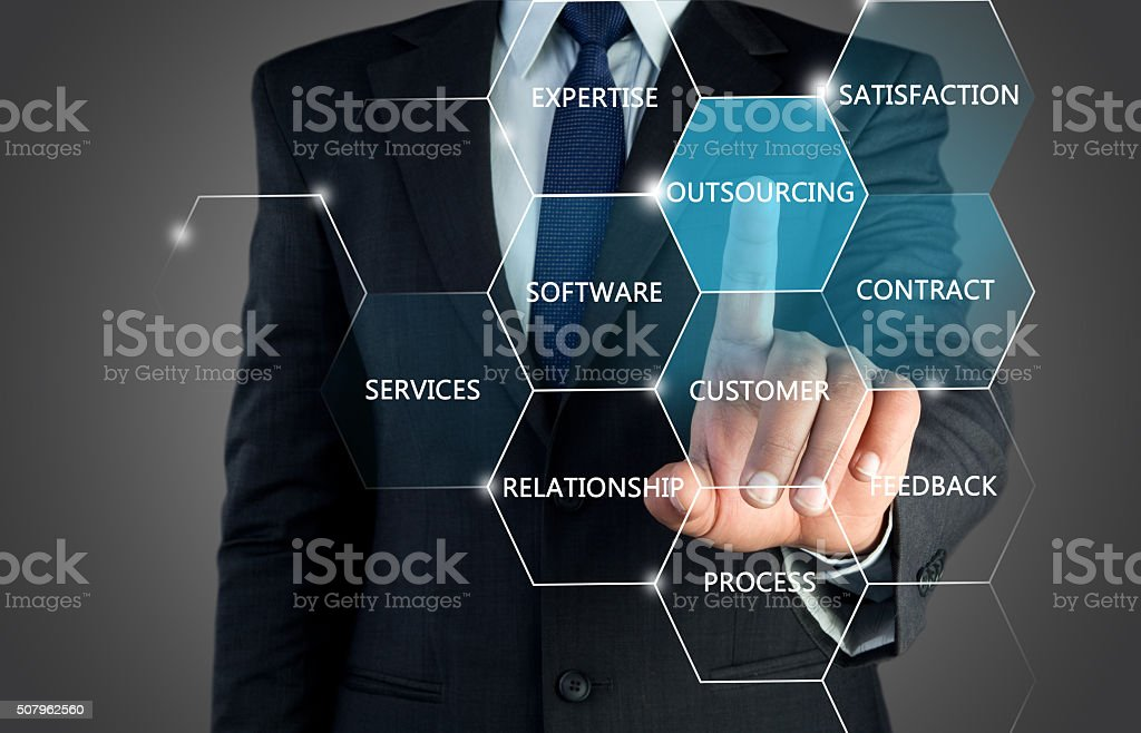 Outsourcing concept on touch screen stock photo