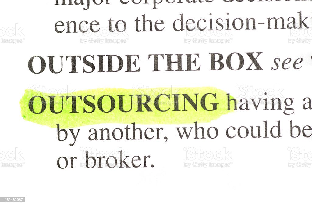 Outsourcing Definition Highlighted Green In Dictionary Stock