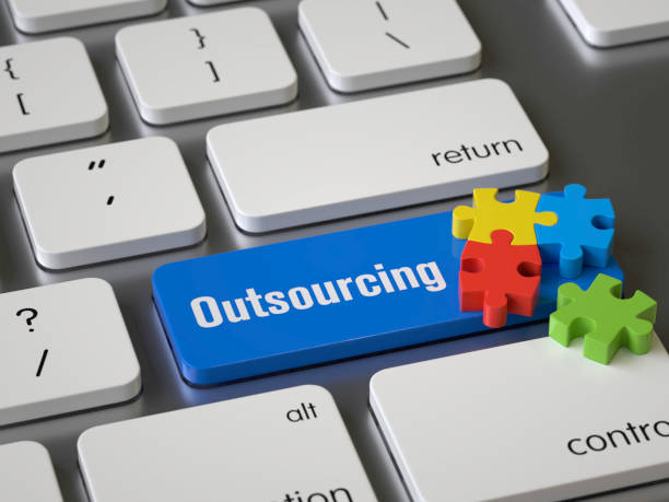 outsourcing outsourcing key on the keyboard, 3d rendering,conceptual image outsourcing stock pictures, royalty-free photos & images