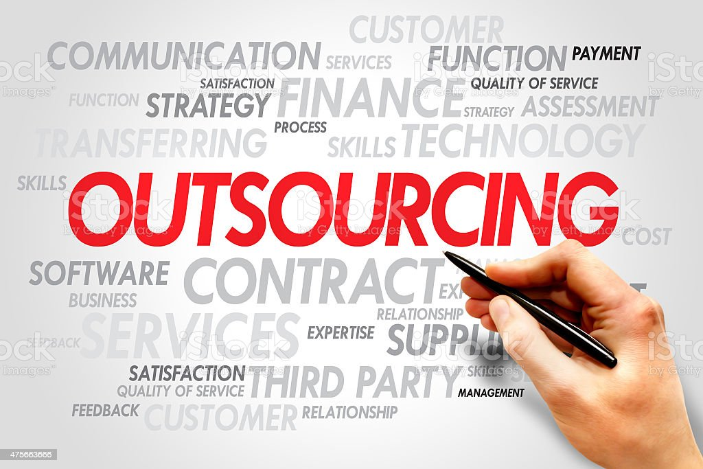 Outsourcing Outsourcing Word cloud business concept 2015 Stock Photo