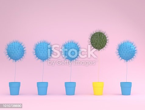 istock Outstanding balloon cactus with yellow flower pot on pink pastel background. minimal idea concept. 1010738690