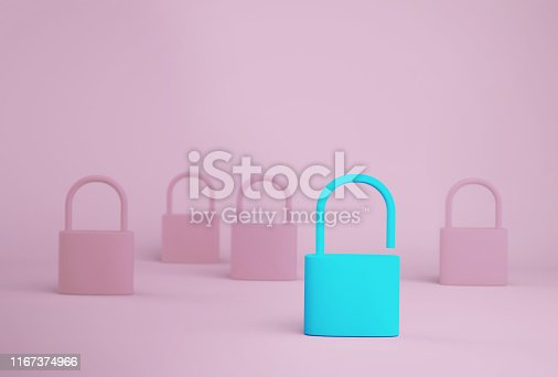 istock Outstanding blue key unlock standing one different from the others on blue background. Successful business team leader concept. 1167374966