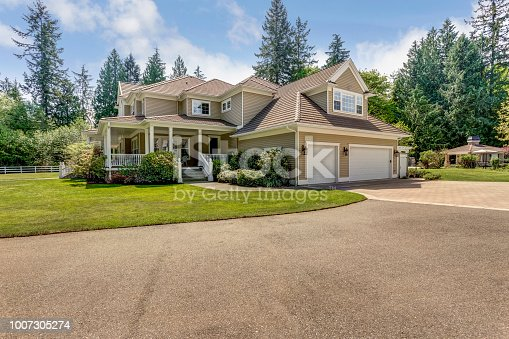 Exterior view of an Outstanding country residence with perfect landscape design.