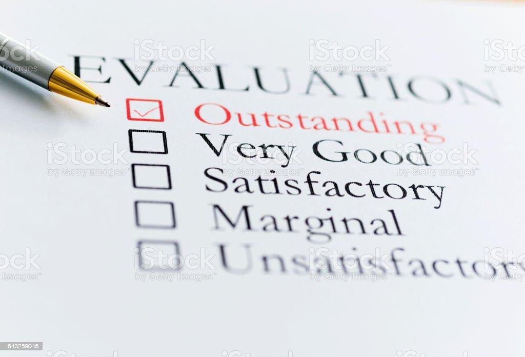 Outstanding Evaluation stock photo
