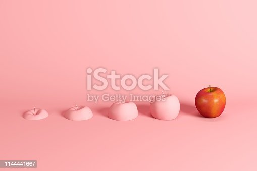 istock Outstanding fresh red apple and slices of apple painted in pink on pink background. Minimal fruit idea concept. 1144441667