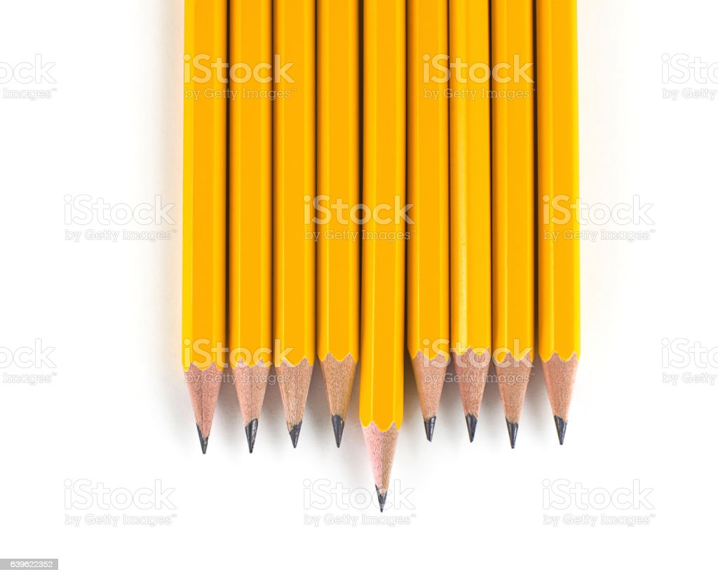 Outstanding Leadership Sharp Yellow Pencil with Individuality stock photo