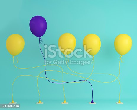 903520476 istock photo Outstanding purple balloon in air one different idea from balloon yellow the others on blue pastel background, Minimal concept idea. 911586740