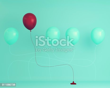 903520476 istock photo Outstanding red balloon in air one different idea from balloon the others on blue pastel background, Minimal concept idea. 911586738