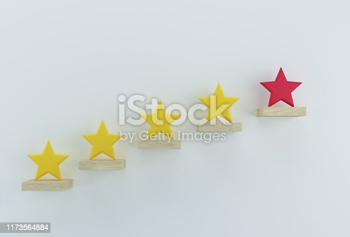 istock Outstanding red star shape on wooden sticks. The best excellent business services rating customer experience concept 1173564884