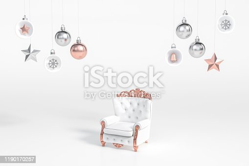 871072052 istock photo Outstanding white and rose gold luxury chair in the middle of metallic  christmas ball Ornaments and decoration object group on white background 3d rendering. 1190170257