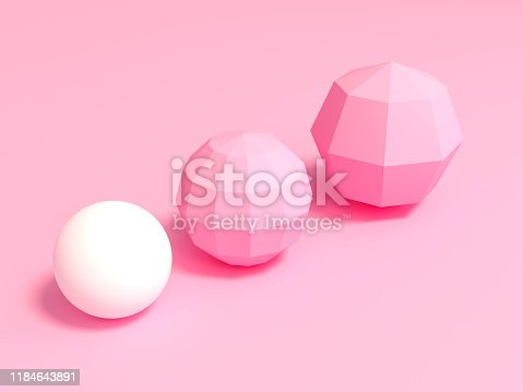 Outstanding white sphere and low polygon pink spheres in different sizes on pink background 3d rendering. 3d illustration pastel minimal style concept.
