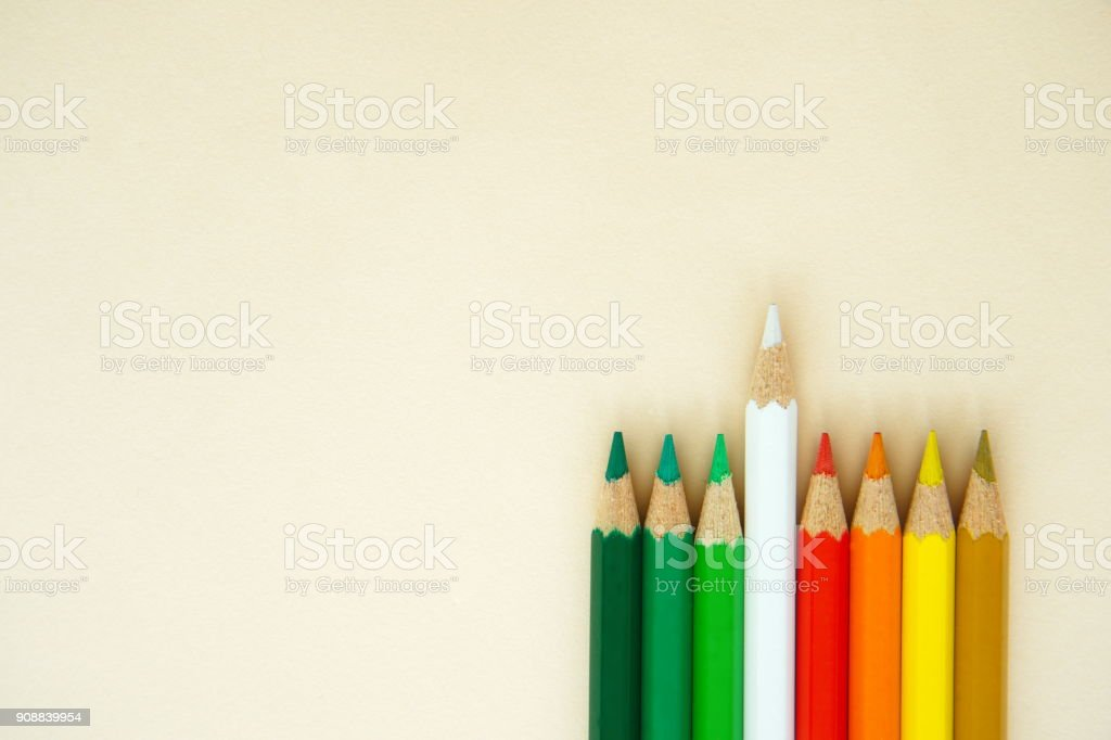 outstanding wood art white pencil color from group of red green yellow concept background stock photo