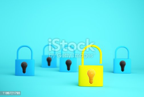 istock Outstanding yellow key unlock with light bulb icon standing one different from the others on blue background. Successful business team leader concept. 1186721793