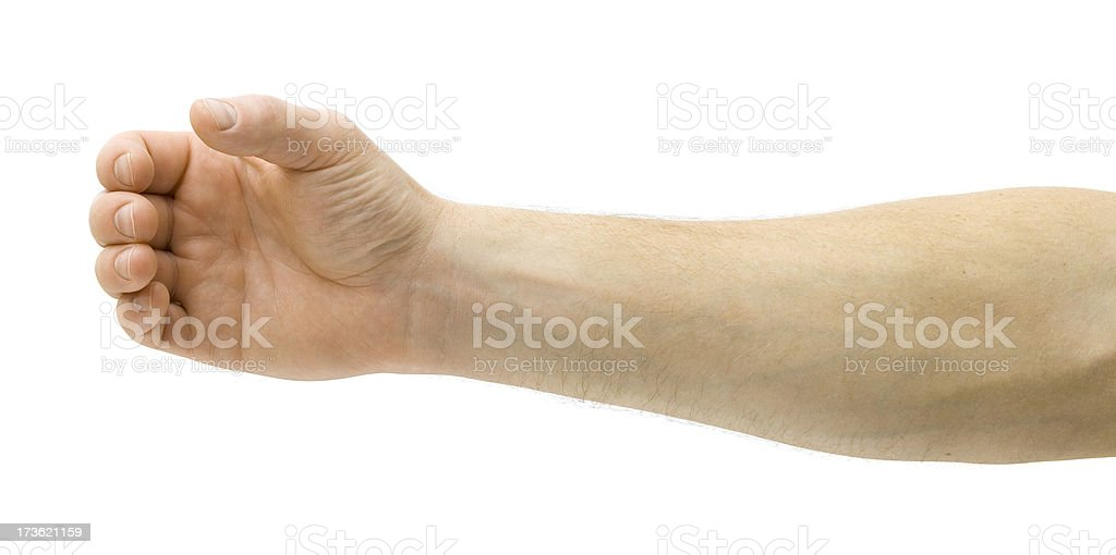 Outstretched arm holding invisible ketchup bottle stock photo