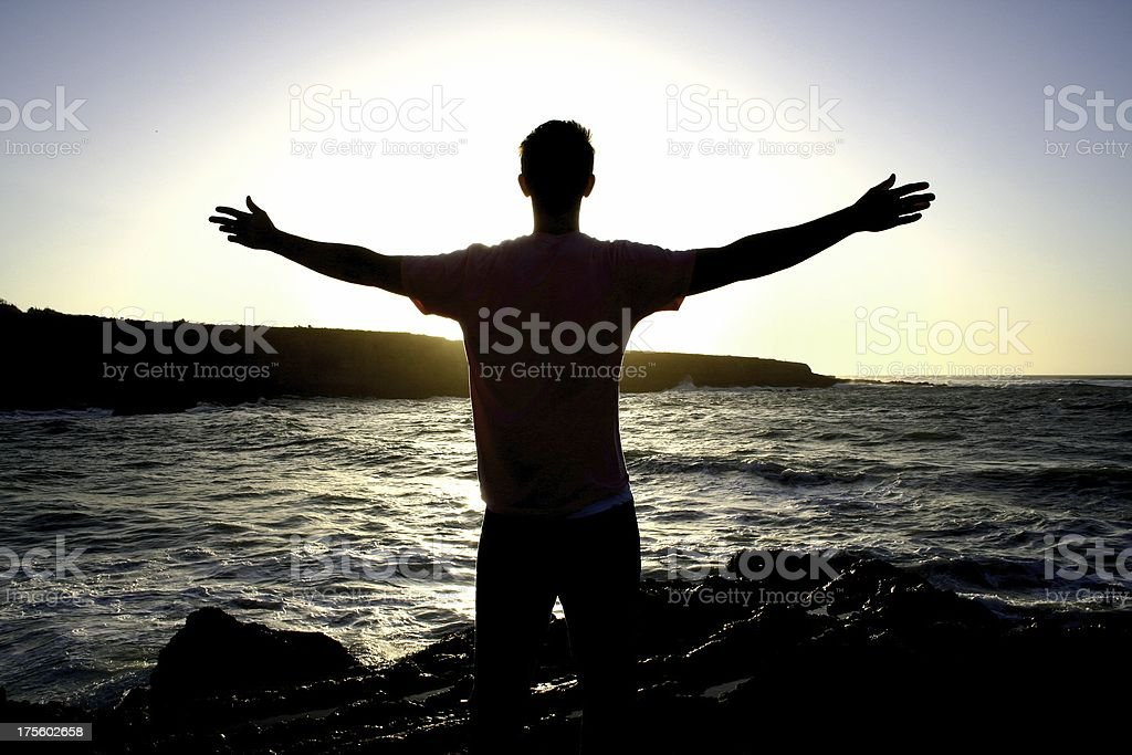 Outstretched Arms in Worship royalty-free stock photo