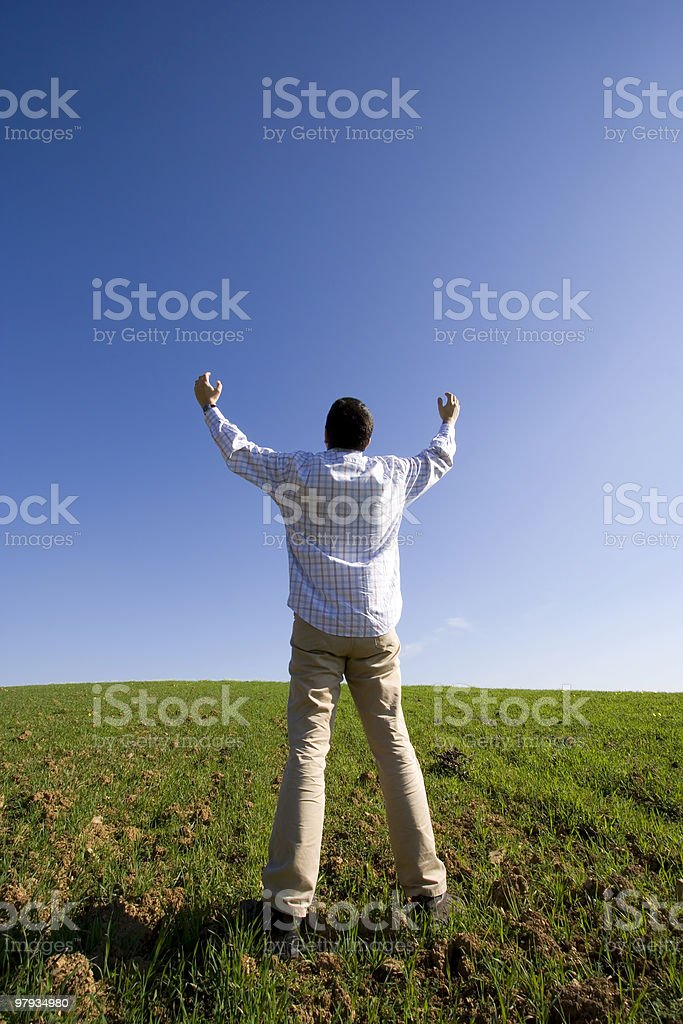 outstretched to the blue sky royalty-free stock photo