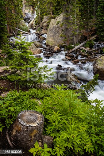 Ouzel Falls flows over the rocks in the summertime in Rocky Mountain National Park outside of Estes Park Colorado