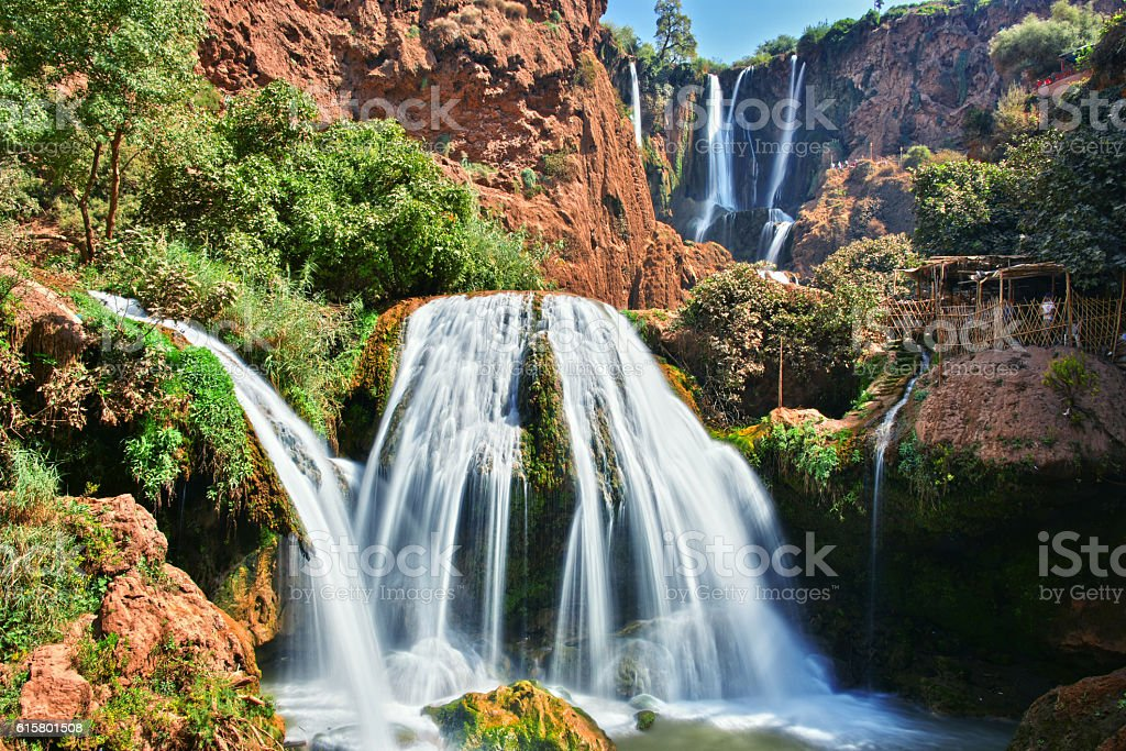Ouzoud Falls near the Grand Atlas village of Tanaghmeilt Morocco stock photo