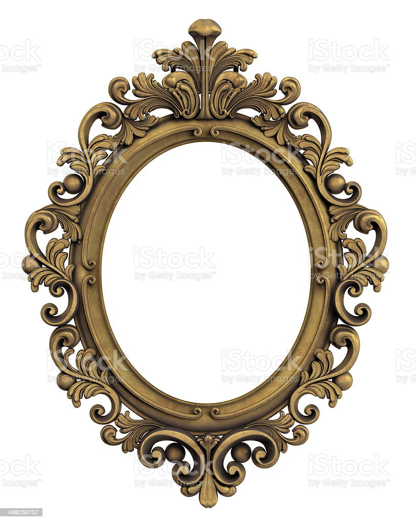 Oval Baroque Gold Frame. Clipping path. stock photo