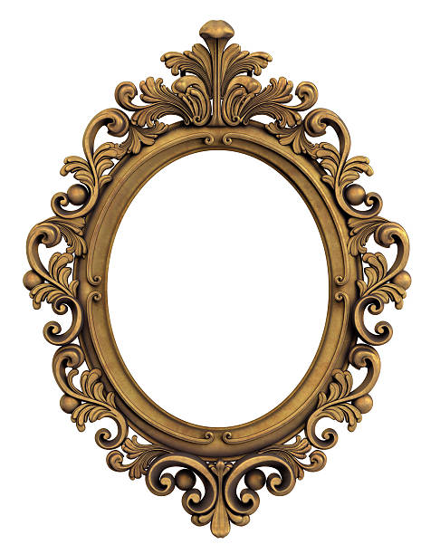 oval baroque gold frame. clipping path. - ellipse stock photos and pictures