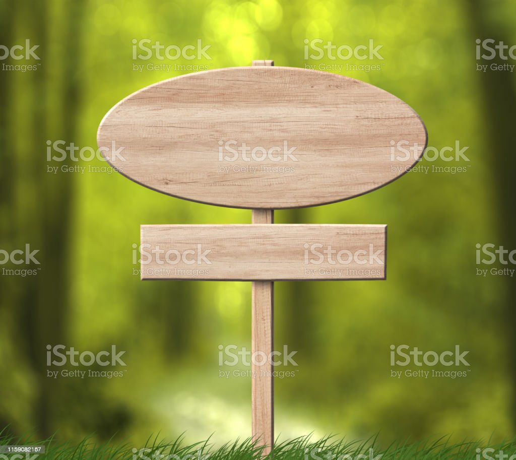 Empty oval bright wood signboard with single pole and forest...