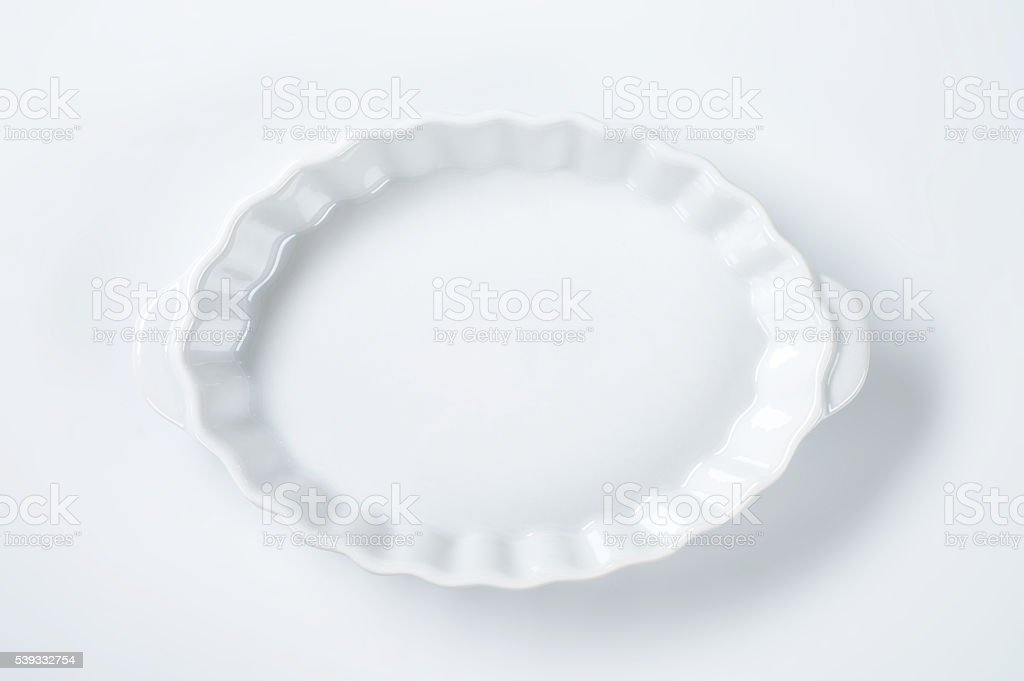 oval fluted casserole dish stock photo
