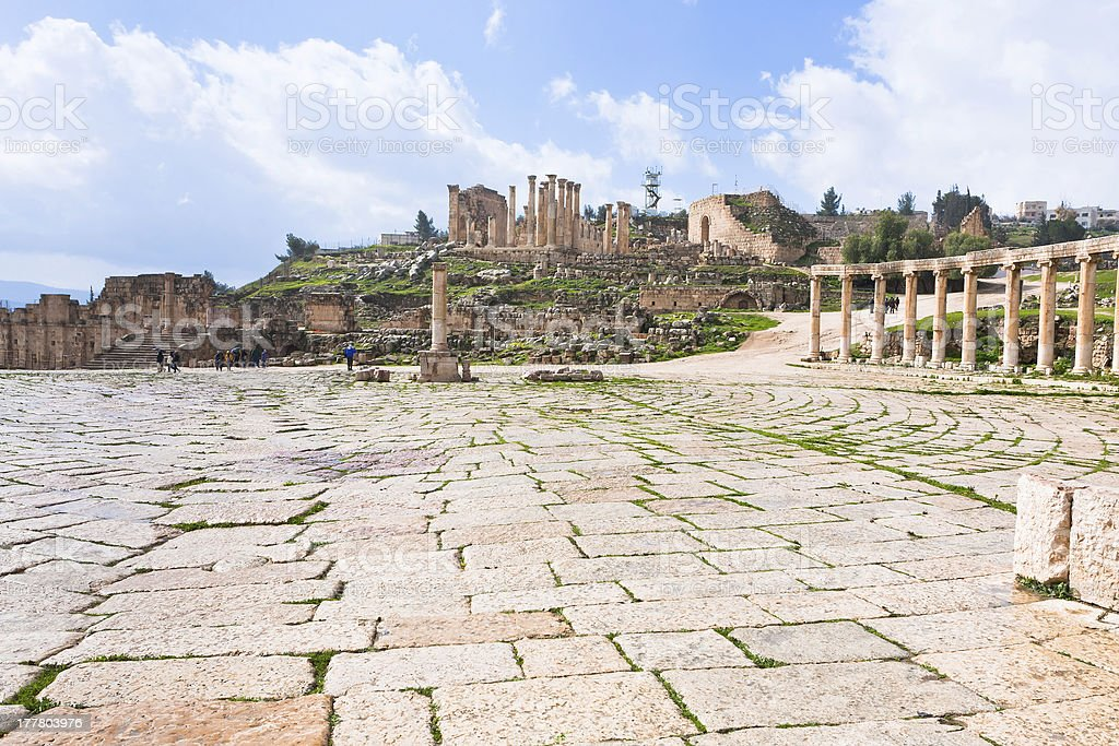 oval forum in antique town Jerash, Jordan royalty-free stock photo