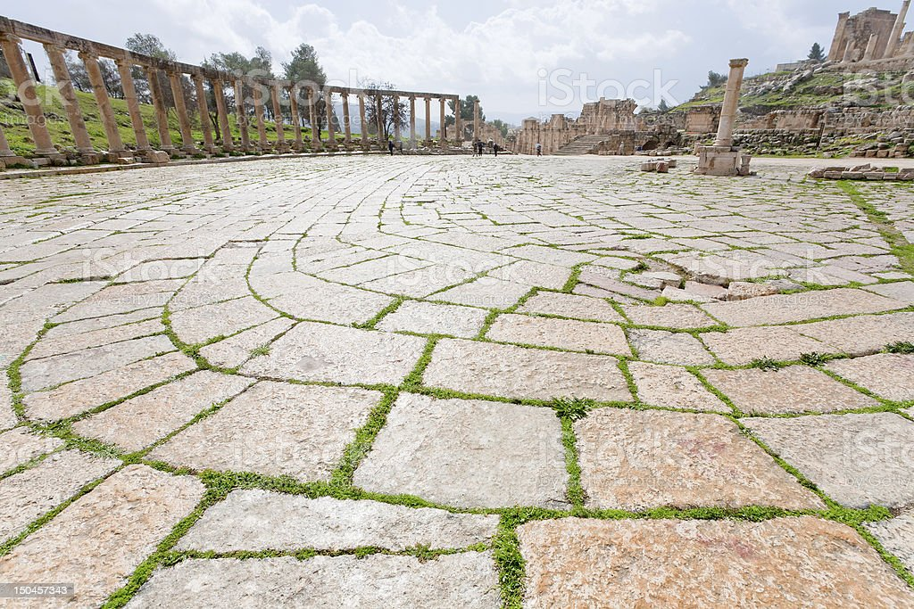 oval forum of antique town Jerash in Jordan royalty-free stock photo