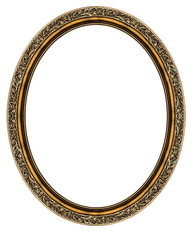 Wooden oval frame isolated on white background