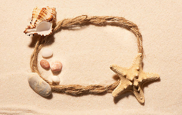 oval frame of rope, starfish, seashell and stones on sand - pink and orange seashell background stockfoto's en -beelden
