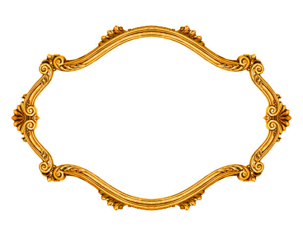 Oval frame Oval frame isolated on white background, including clipping path carving craft product stock pictures, royalty-free photos & images