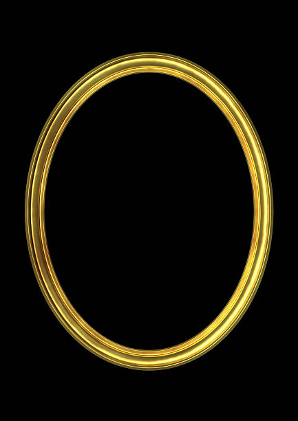oval gold  frame(clipping path!) - ellipse stock photos and pictures