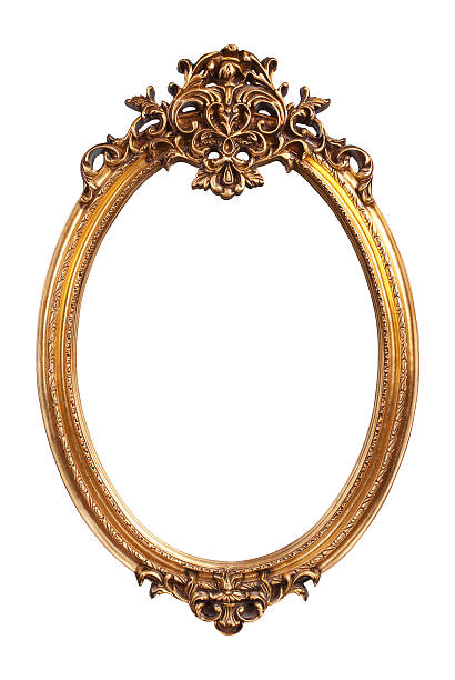 oval gold vintage frame isolated on white background - ellipse stock photos and pictures