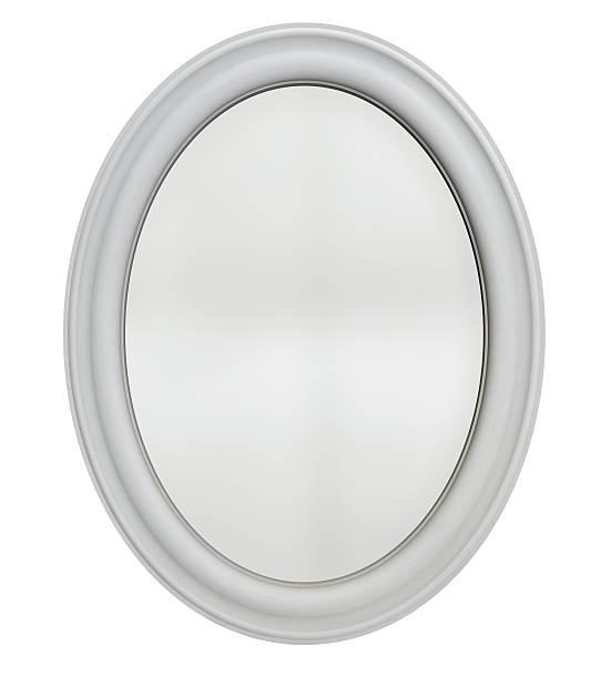 ovale spiegel, gläser - wandspiegel weiß stock-fotos und bilder