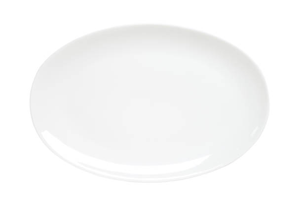 oval plain white platter - ellipse stock photos and pictures