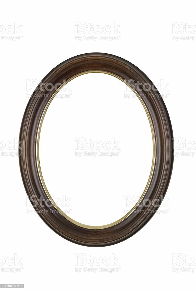 Oval Round Picture Frame in Brown, White Isolated Studio Shot stock photo