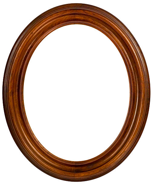 oval walnut picture frame.  isolated with clipping path - ellipse stock photos and pictures