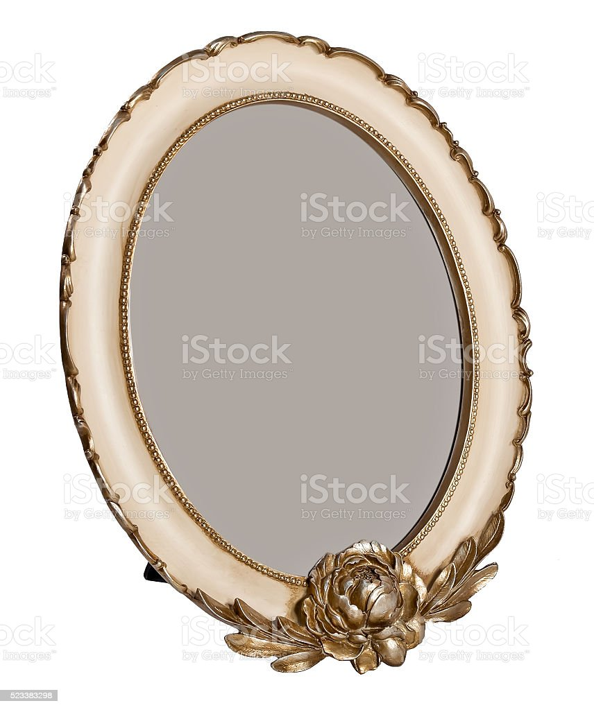 Oval wooden photo frame with empty space stock photo