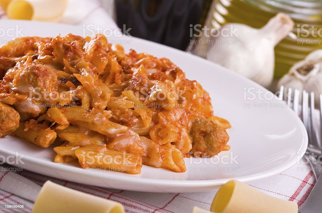 Oven baked pasta. royalty-free stock photo