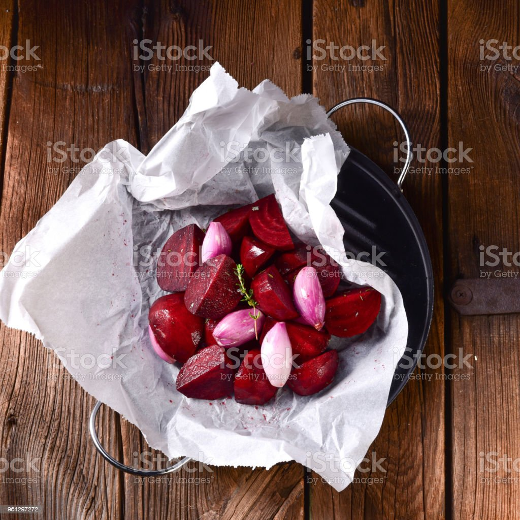 oven baked red beets stock photo