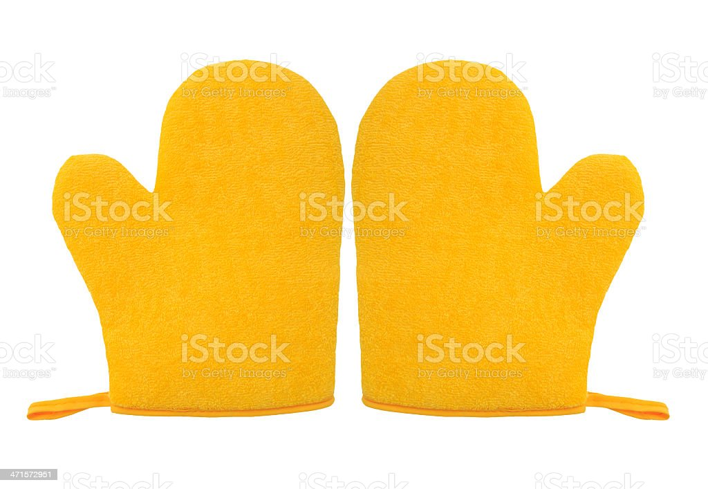 oven glove mitt yellow color isolated on white background royalty-free stock photo