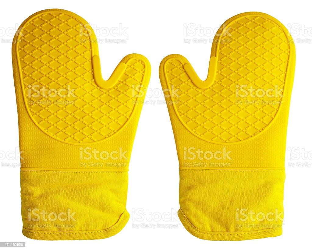 Oven Gloves Yellow stock photo