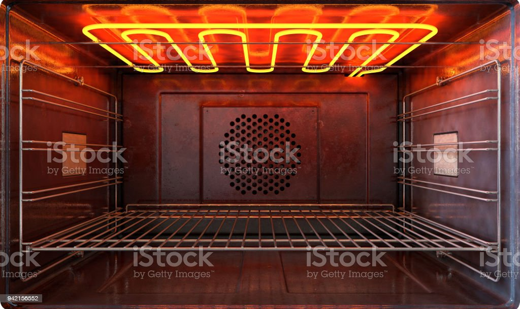 oven new outside view door open stock photo