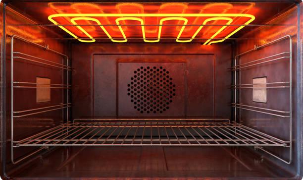 horno nuevo fuera vista puerta abierta - foto de stock
