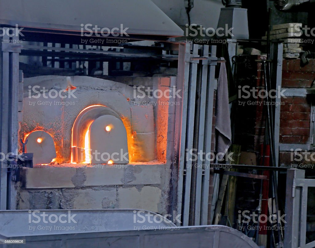 oven of a glass factory stock photo