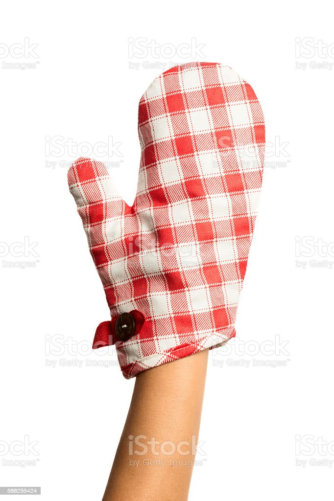 Oven protective mitten with woman hand stock photo